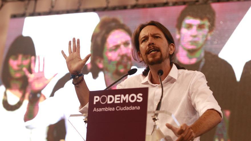Pablo Iglesias en el escenario de Vistalegre en la Asamblea fundacional de Podemos. / Marta Jara