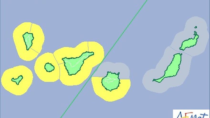Mapa de la Aemet de aviso de riesgo por fenómeno costero para este lunes, 19 de enero, actualizado.