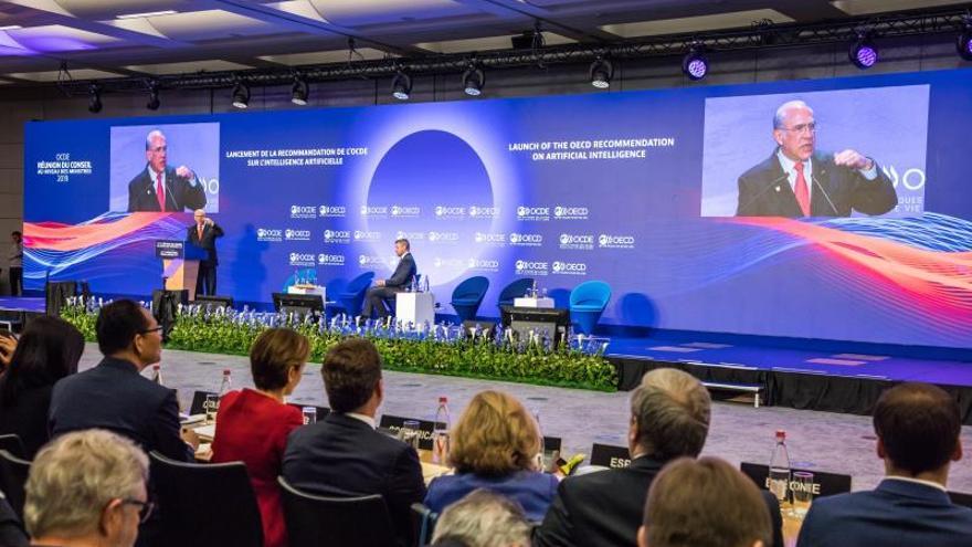 El secretario general de la Organización para la Cooperación y el Desarrollo Económico (OCDE), Ángel Gurría (i), interviene en la conferencia ministerial de la OCDE.