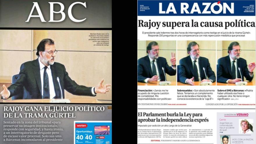 Portadas de ABC y La Razón del 27/07/2017