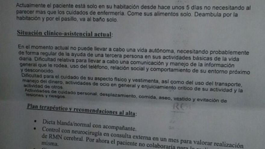 Informe médico del alta de Mamadou Diara emitido por el Hospital Comarcal de Melilla.