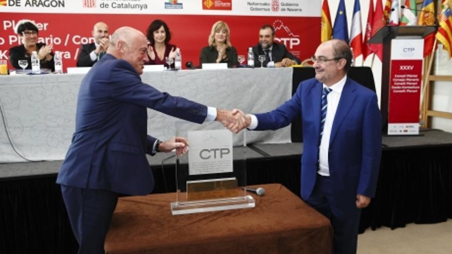 El Presidente de Aragón recibió en 2018 la presidencia de la CTP de manos del Presidente de Nueva Aquitania