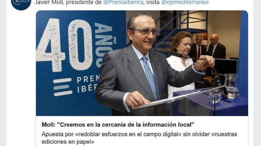 Anuncio desde el Twitter de Prensa Ibérica de la visita de Javier Moll al periódico 'Mediterráneo'.