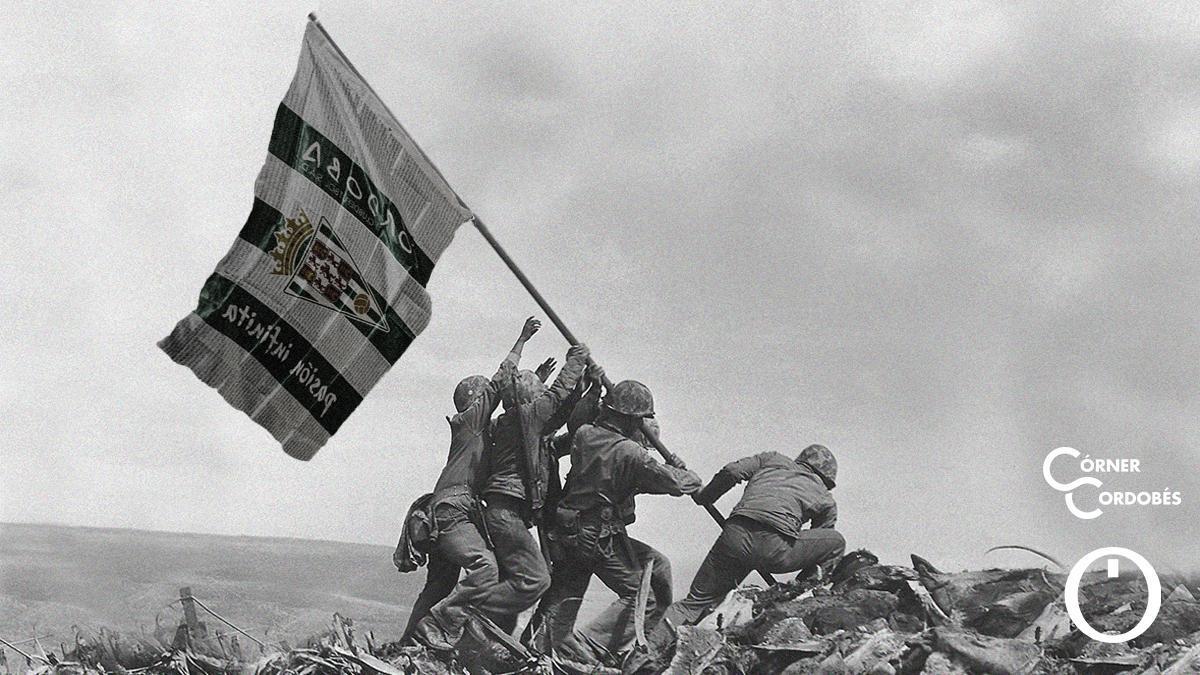 Reproducción blanquiverde de 'Alzando la bandera en Iwo Jima'.