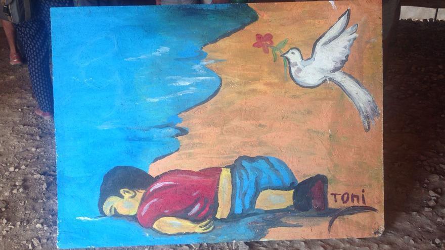 Imagen de la exposición de pintura de algunos artistas del campo de refugiados de Katsikas | FOTO: Arantxa Freire