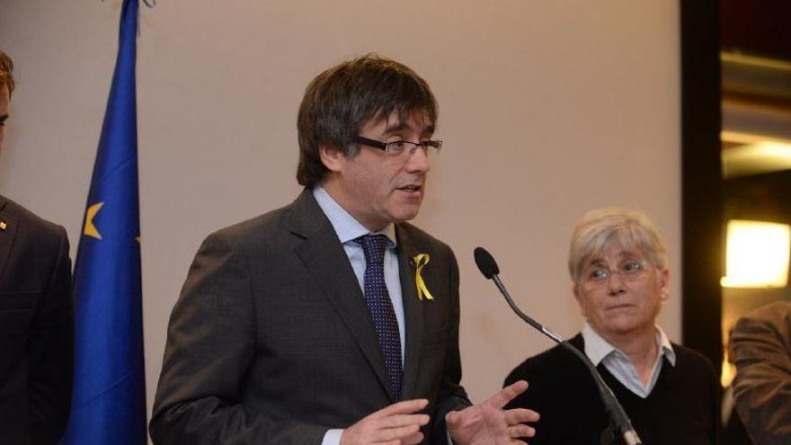 Carles Puigdemont, en una rueda de prensa desde Bruselas