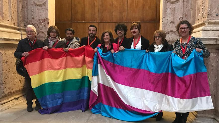 Colectivos LGTBI celebran la aprobación de la ley en el Parlamento de Andalucía.