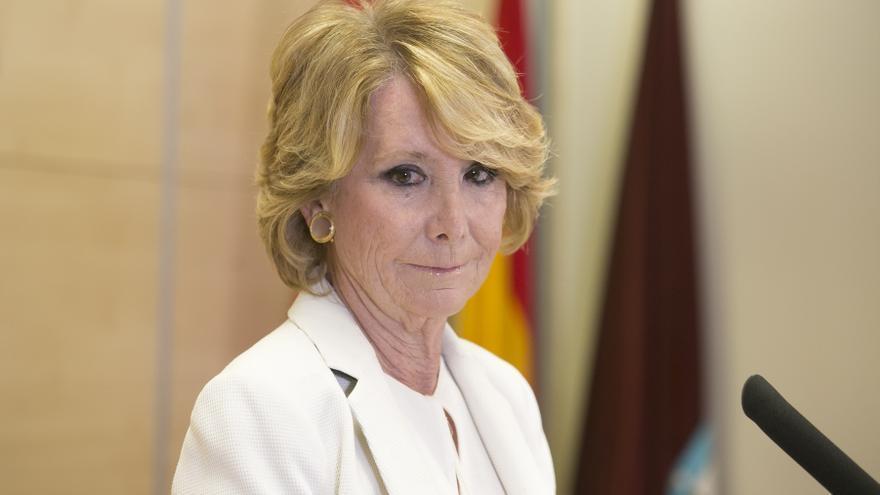 Esperanza Aguirre anuncia su dimisión como concejal del Ayuntamiento de Madrid, el 24 de abril de 2017.