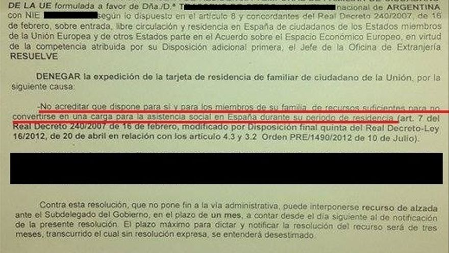 Carta de denegación de residencia./ Eldiario.es
