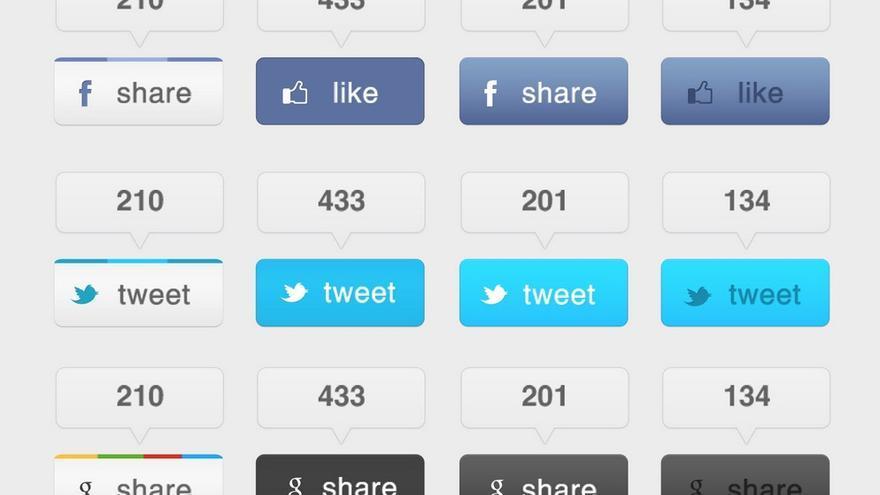 Bisutería social o botones para compartir contenido en redes sociales