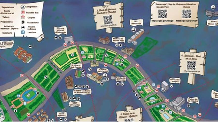 Mapa de las actividades de la Primavera Educativa que ocupará el viejo cauce del río Túria