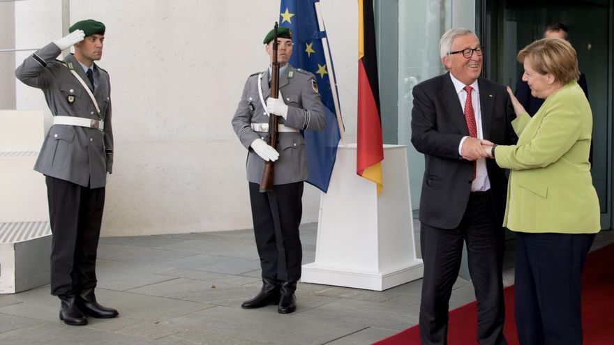 Reunión de Juncker y Merkel en Berlin, el 4 de septiembre de 2018.