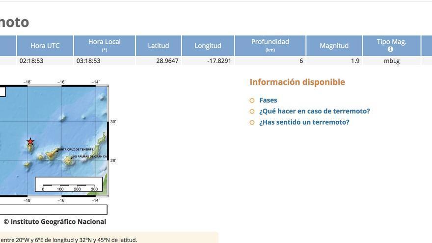Mapa del IGN donde se indica el lugar donde se ha registrado el pequeño terremoto.