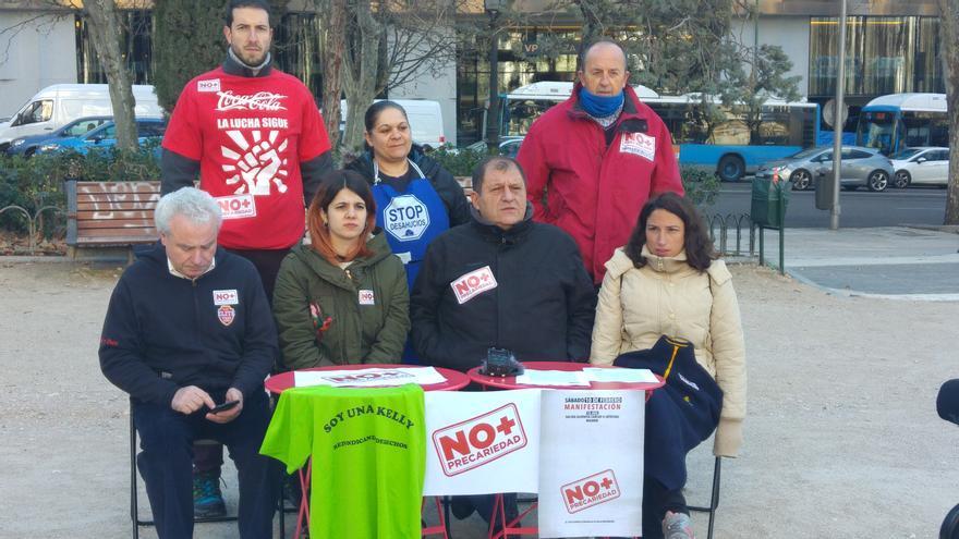 Rueda de prensa de participantes de 'No más precariedad' en Madrid, este 7 de febrero de 2018.