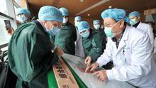 Miembros del grupo de expertos de la OMS en coronavirus, de verde, de visita en un centro médico de Wuhan