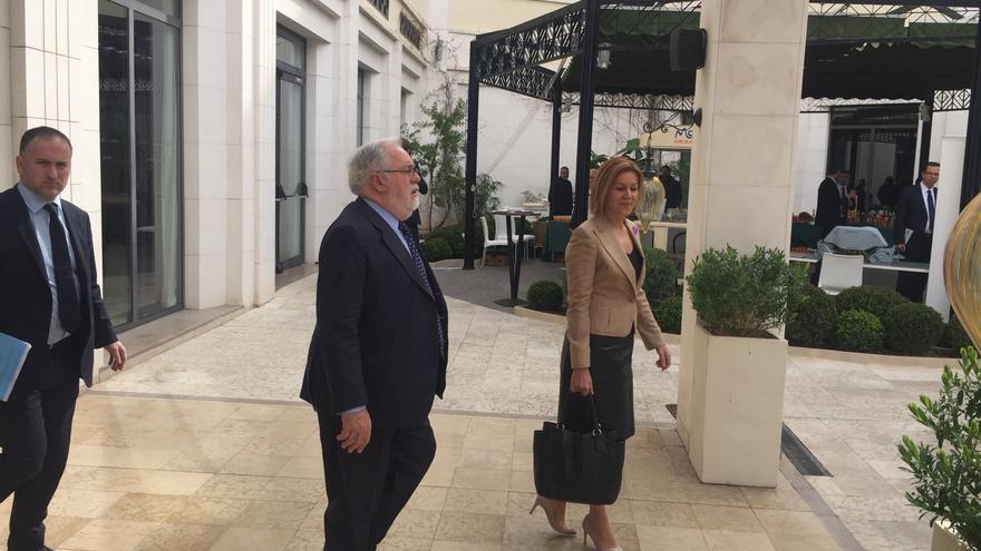 María Dolores de Cospedal, a su llegada a las jornadas de eurodiputados del PP en Valencia.