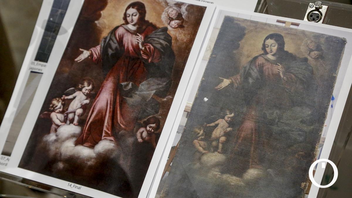 Estado en el que estaba y resultado de la restauración del cuadro de la Inmaculada Concepción
