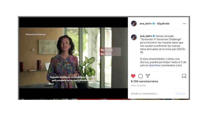 Ana Botín presenta a través de Instagram el proyecto 'Santander X Tomorrow Challenge'
