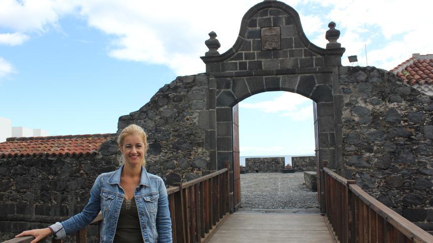 Virginia Espinosa en el Castillo de Santa Catalina.