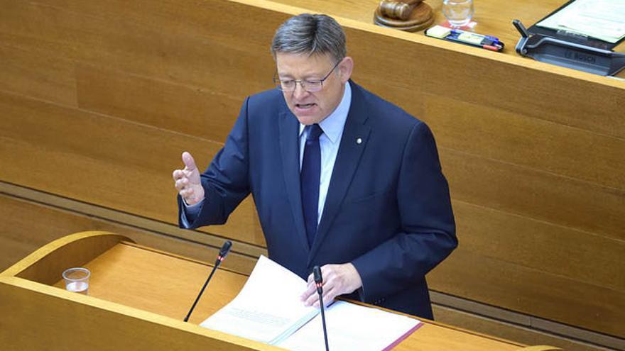 El president Ximo Puig en el pleno de política general celebrado en las Corts