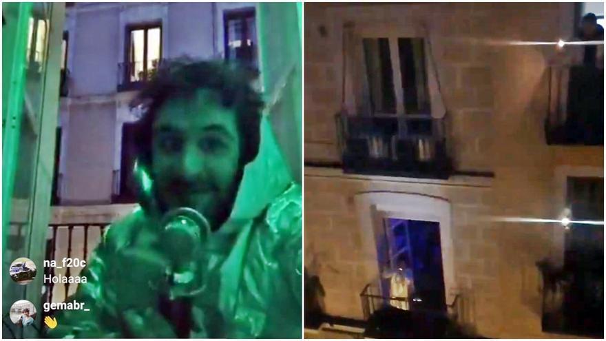 Pablo Piñeiro, antes de la canción (izda) y saliendo al balcón de Valverde (dcha)