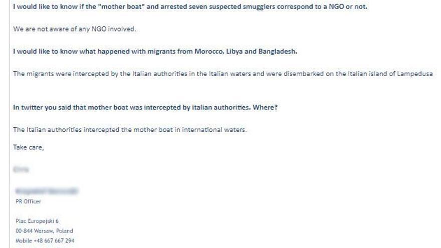 Respuesta que nos dan desde FRONTEX