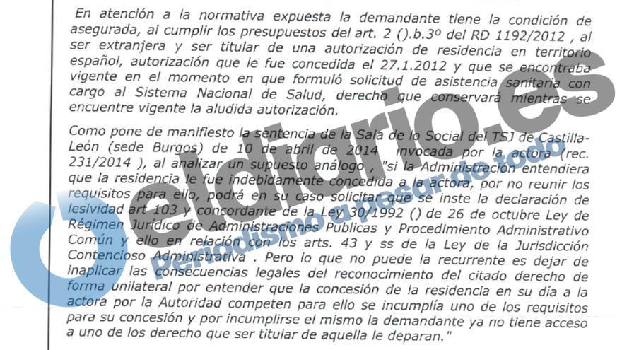 Extracto de la sentencia que reconoce el derecho de Estela a la tarjeta sanitaria.