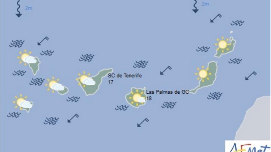 Mapa del tiempo de la Aemet para este martes, 2 de febrero de 2016.