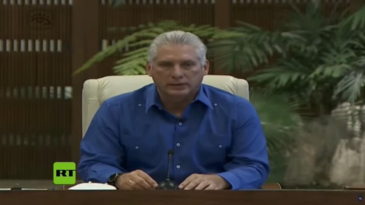 El presidente de Cuba, Miguel Díaz-Canel, habló para los medios de prensa.