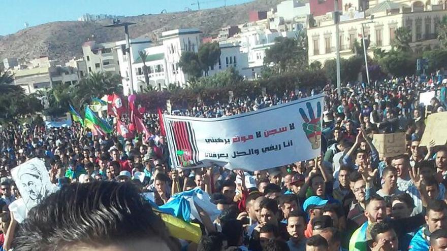 Moneim, durante una de las protestas de Alhucemas.