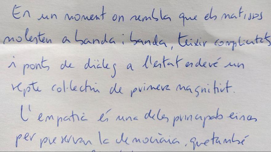 Extracto de la carta de Jordi Cuixart
