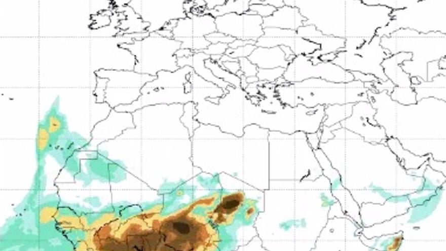 Mapa facilitado por la Aemet del 24 de diciembre en el que se aprecia la calima en las Islas Canarias.