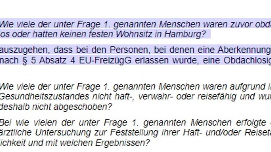 """Fragmento de la respuesta del Senado de Hamburgo a Die Linke. A la pregunta: """"¿Cuántas de las personas mencionadas en la pregunta 1 eran anteriormente personas sin hogar o no tenían residencia permanente en Hamburgo?"""", las autoridades responden: """"Se puede dar por sentado que existe falta de hogar en el caso de las personas que han sido privadas de su libertad de circulación de conformidad con el artículo 5, apartado 4, de la Ley de libre circulación de la UE [285 personas]"""""""