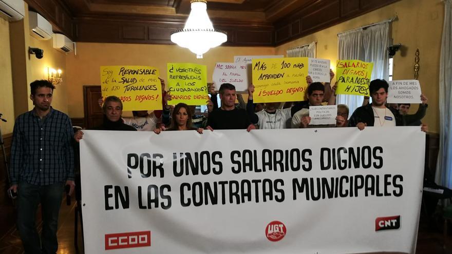 Protesta de los trabajadores en el último Pleno del Ayuntamiento de Teruel
