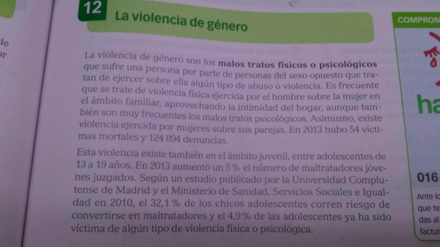 Contenido del libro de Biología y Geología (Editorial Santillana) sobre violencia de género