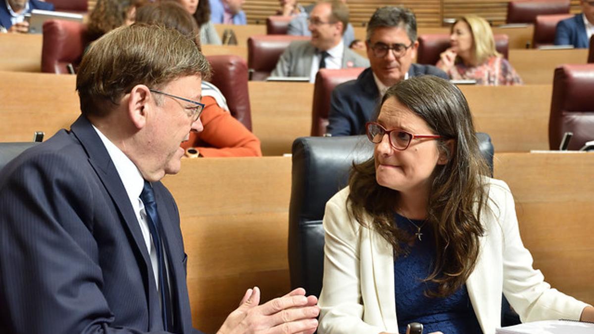 El president Ximo Puig y la vicepresidenta Mónica Oltra en una imagen de archivo.