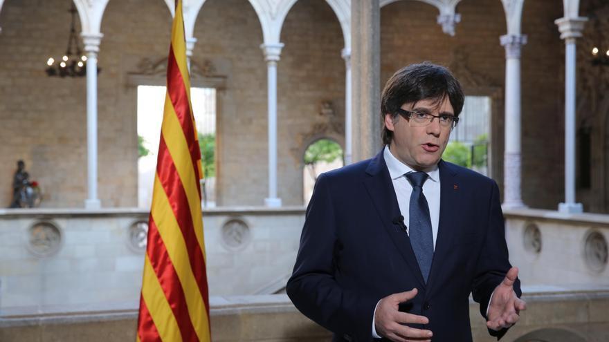 Carles Puigdemont durante el discurso de la Diada de Sant Jordi