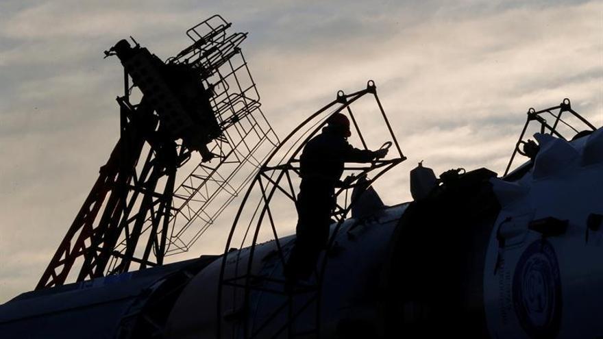 La Soyuz MS-03 llega a la plataforma de lanzamiento