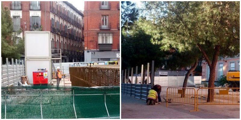 Aspecto actual del solar, sin árboles (izda) y al inicio de las obras, con los pinos que han sido talados o trasplantados (derecha) | SOMOS MALASAÑA