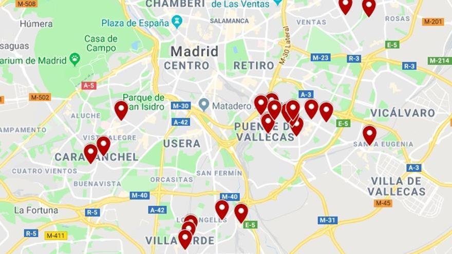 Mapa de pisos en Madrid de la compañía  MDS Reit. Fuente: Registro de la Propiedad