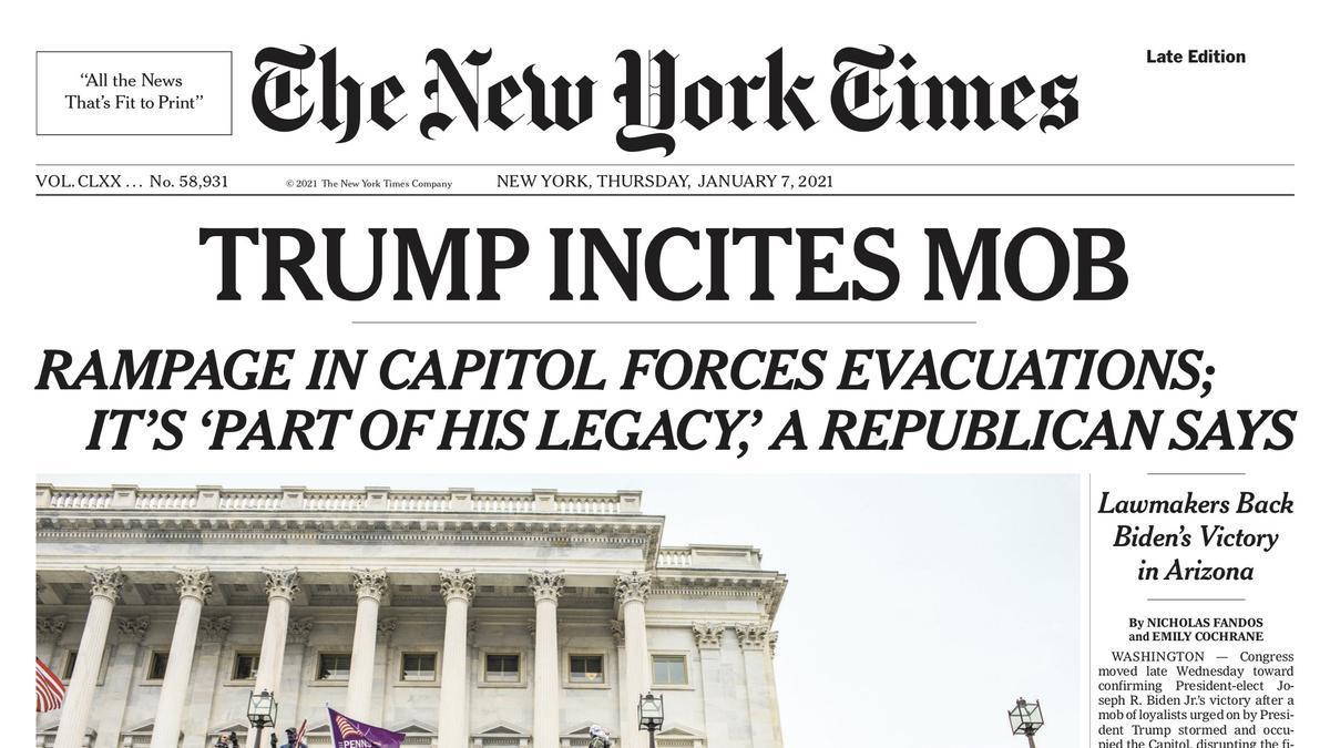 Portada de The New York Times el 7 de enero de 2021.