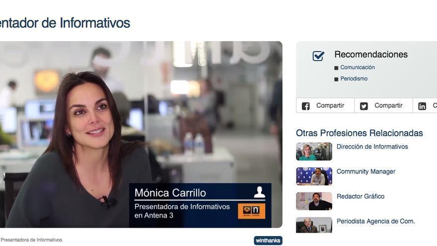 Mónica Carrillo explica su trabajo como presentadora de informativos. / Foto: Workinside