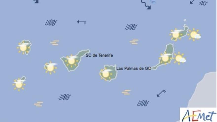 Mapa con la previsión meteorológica para este sábado, 15 de abril de 2017