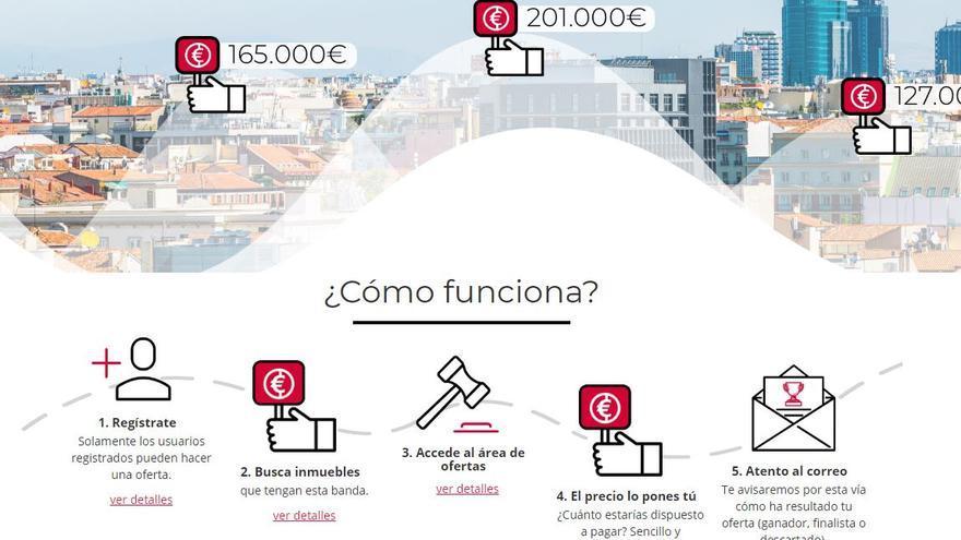 Portal de Aliseda, controlada por el fondo buitre Blackstone, que vende inmuebles del Santander.