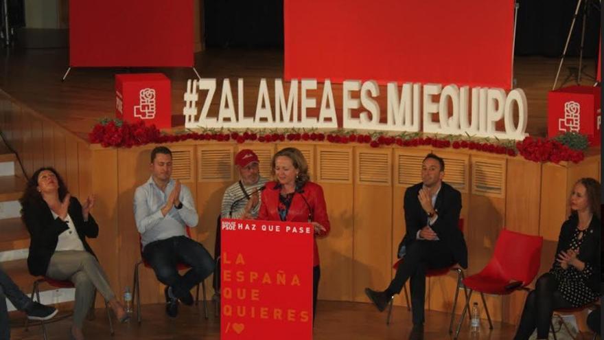 Acto celebrado en Zalamea de la Serena con la ministra de Economía y Empresa, Nadia Calviño