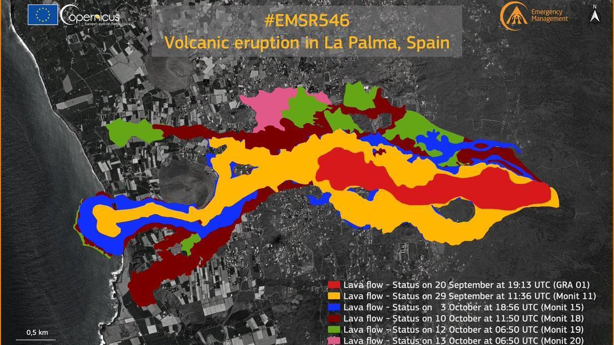 Avance de la lava en La Palma según la actualización de Copernicus del 13 de octubre