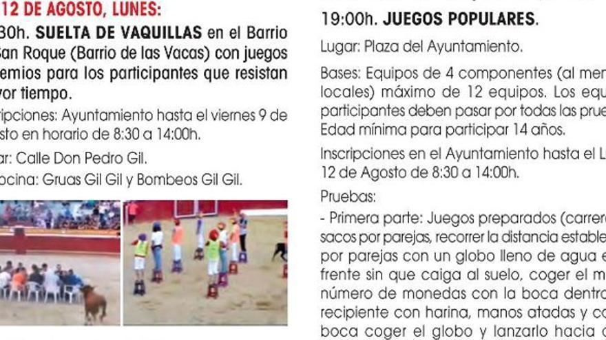 Extracto de la programación donde está fechada la suelta de vaquilla para las fiestas patronales de Ceutí (Murcia)