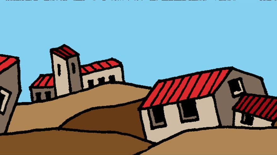 Fragmento de la ilustración realizada por Chema Cebolla para 'Aragón vacío'.