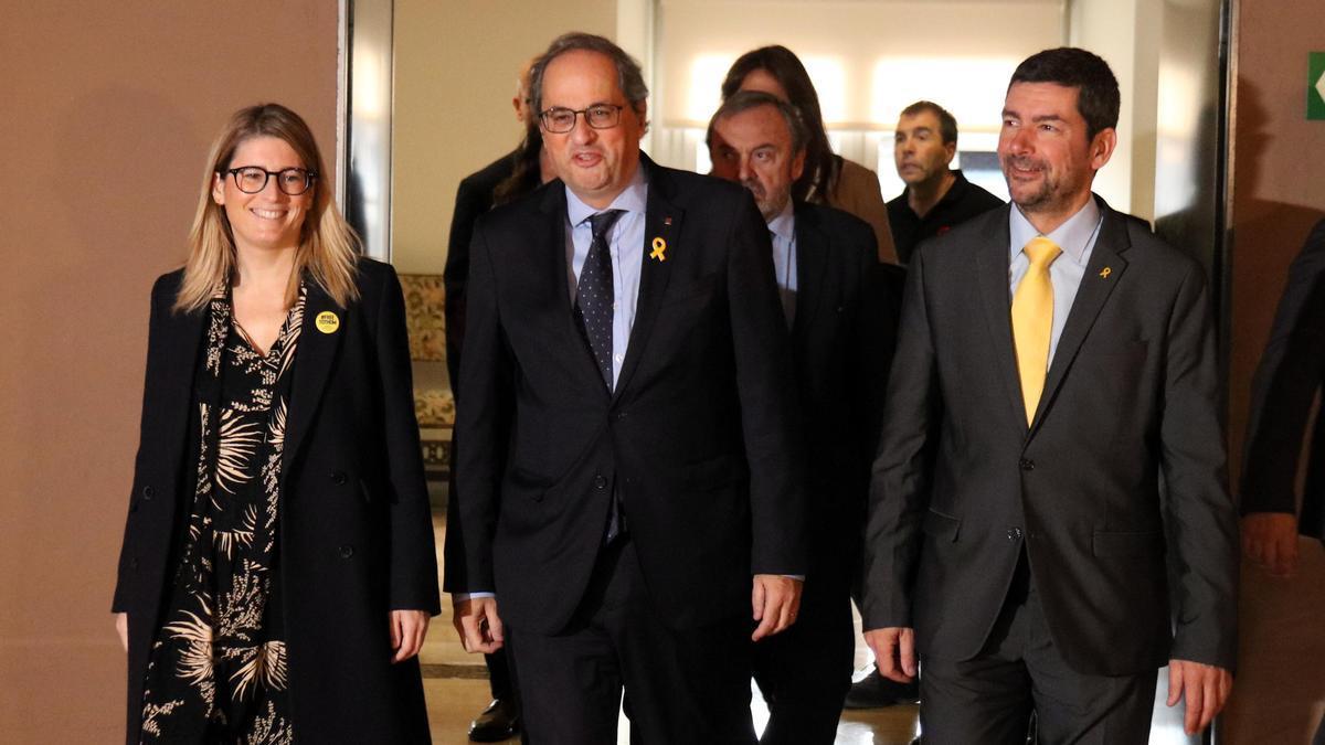 Elsa Artadi, el president Quim Torra y Joan Canadell, en una foto de archivo de 2019