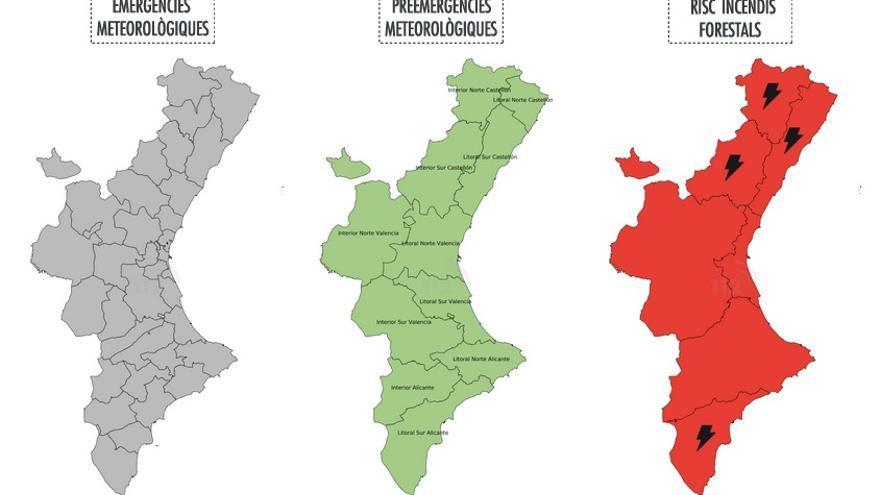 Mapa d'alertes del risc d'incendis d'este divendres 30 de juny